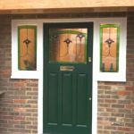 Painted Hardwood Door With Stained Glass