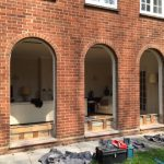 Curved sash window project before