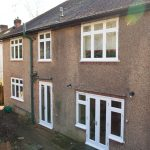 Flush timber windows in white