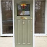 Green timber door installed