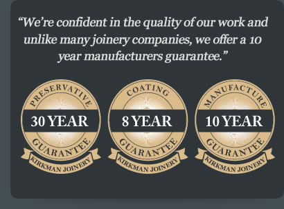 Guarantee badges, 30 year preservative, 8 year coating, 10 year manufacturers guarantee