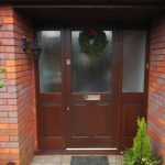 Mahogany entrance door with sidelights