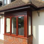 Mahogany windows with curved edge