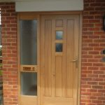 Oak entrance door with single side panel