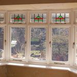 Internal shot of timber bay windows