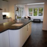 A timber conservatory/extension with modern kitchen