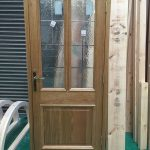 Timber door with lead details in our factory