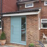 Timber door in chartwell green
