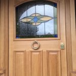 Timber entrance door with custom glazing