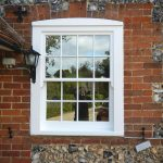 Timber sash window with horns