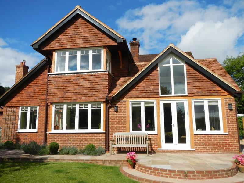 Angled timber windows