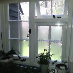 Timber windows with bespoke frosted glass