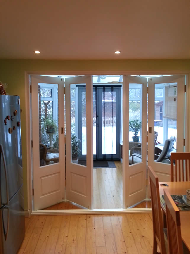 Folding Bifold Doors : Modern timber bi folding doors in high wycombe kirkman