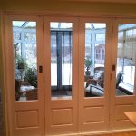Timber bi-folding door fully closed