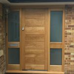 Solid Oak Timber Front Door With Side Lights