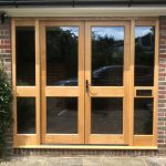 Solid Oak Timber Double Door Set With Sidelights