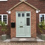 Hardwood painted front door with sidelight