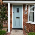 Hardwood Painted Cottage Style Door With Vision Panel And Curved Head
